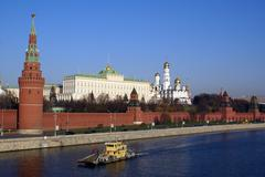 Kremlin and boat Stock Photos