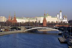 road bridge and kremlin in moscow - stock photo