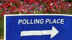 Polling place sign Stock Footage
