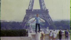 Goofy Kid EIFFEL TOWER Paris 1957 (Vintage Old Film Home Movie Footage) 5568 - stock footage