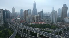 Time Lapse Shanghai Skyline Aerial View Cars Cross Crowded Highway Busy Road Day - stock footage