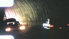 Car DRIVING THROUGH Tunnel Oncoming Traffic 1960s Vintage Film Home Movie 5569 Stock Footage