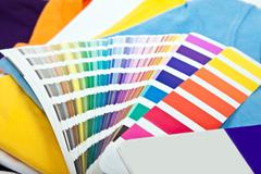 Stock Photo of colorful t shirts and color scale