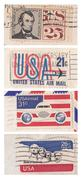 old american stamps - stock photo