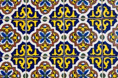 blue and yellow floral tile - stock photo
