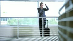 Single Caucasian businesswoman on smart phone Stock Footage