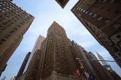 New York City skyline looking Up - stock photo