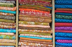 Indian fabric for sale at market Stock Photos