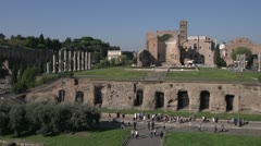 History & culture, Roman ruins on Palatine Hill, Wide shot Stock Footage