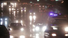 Cars go in the rain time lapse Stock Footage