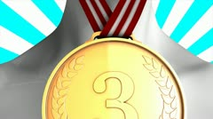 Concept animation Bronze medal winner, matte included. - stock footage