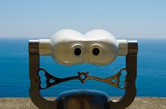 viewfinder overlooking ocean - stock photo