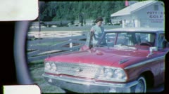 Woman Ford Galaxie CLASSIC CAR ANTIQUE AUTO 1960s Vintage Film Home Movie 5576 Stock Footage