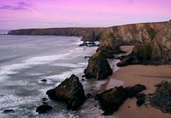 Stock Photo of bedruthan steps, cornwall, at sunset