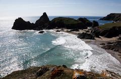 rolling waves at kynance cove, cornwall - stock photo