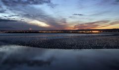 marazion, cornwall, at sunset - stock photo