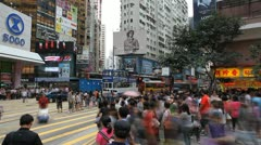Hong Kong Crowds Rush Hour Shopping Area, Crowded Street, Car, time lapse Stock Footage
