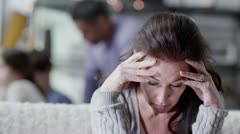 A woman is upset and stressed about her life - stock footage