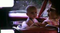 MOTHER Happy Baby in Car Riding Infant 1960 Vintage 8mm Film Home Movie 5579 Stock Footage