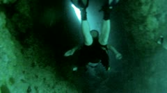 Scuba dive through dark underwater cave Mexico HD 0062 - stock footage