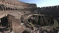 History & culture, Roman Colosseum inside pan, wide shot Stock Footage
