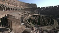 Stock Video Footage of Roman Colosseum inside pan, wide shot