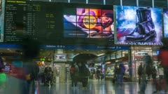 Rome Termini Train Station timelapse, central terminal with timetable Stock Footage