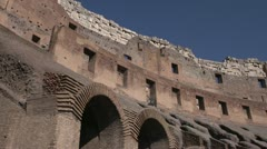 History & culture, Roman Colosseum inside wide low angle Stock Footage