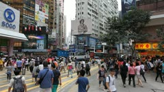 Hong Kong Crowds Rush Hour Shopping Area, Crowded Street, Car, Bus Traffic Stock Footage