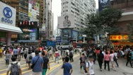 Stock Video Footage of Hong Kong Crowds Rush Hour Shopping Area, Crowded Street, Car, Bus Traffic