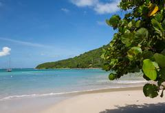 glorious beach at anse marcel on st martin - stock photo