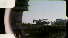 PLANES ON DECK Aircraft Carrier 1970 (Vintage Film Amateur Home Movie) 5587 Stock Footage