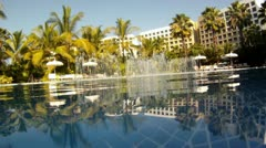 Swimming pool luxury tropical resort Mexico HD 0072 Stock Footage