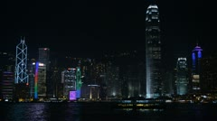 Hong Kong Island Skyline by night, Victoria Harbour, Kowloon, Ship, Skyscrapers Stock Footage