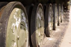 wheel of tank - stock photo