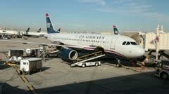 Airport Phoenix Arizona US Airways Jet at gate HD 3563 Stock Footage