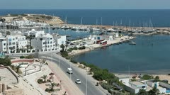 Moored yachts and ships on Monastir city bay, Tunisia Stock Footage