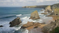 Coast of Cornwall Bedruthan Steps near Newquay England UK Stock Footage