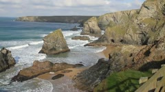 Cornwall coast at Carnewas and Bedruthan Steps near Newquay England UK Stock Footage