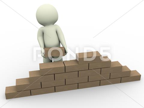 Stock Illustration of 3d man builder