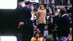 Hippies CROWDS in Dam Square Amsterdam 1970s Vintage Film Home Movie 5601 Stock Footage