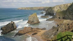 Carnewas and Bedruthan Steps Cornwall England UK Stock Footage