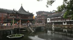 Yuyuan Garden,Yu Yuan Park, Old town in Shanghai, China, Tourists, time lapse Stock Footage