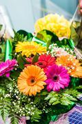 Bouquet of red gerberas Stock Photos