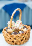 basket with cake - stock photo