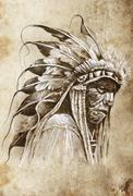 Stock Illustration of sketch of tattoo art, native american indian head, chief, vintage style