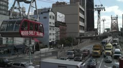 New York City Queensboro Bridge Traffic and Roosevelt Island Tram Stock Footage