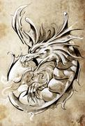 Sketch of tattoo art, medieval dragon, vintage style Stock Illustration