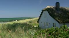Old Thatched-Roof House on Darss Peninsula - Baltic Sea, Northern Germany Stock Footage