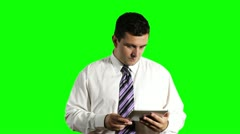 Young Businessman Tablet PC Getting Bad News Greenscreen Stock Footage